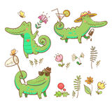 Cartoon crocodiles set. Royalty Free Stock Images