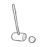 Cartoon croquet mallet and ball Royalty Free Stock Image