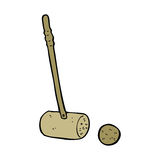 Cartoon croquet mallet and ball Stock Photo