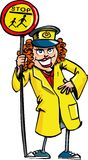 Cartoon of a crossing guard lady Royalty Free Stock Photo