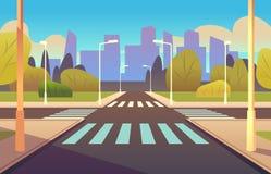 Cartoon crosswalks. Street road crossing highway traffic urban landscape building, crosswalk car, empty sidewalk stock illustration