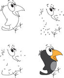 Cartoon crow. Coloring book and dot to dot game for kids Stock Images