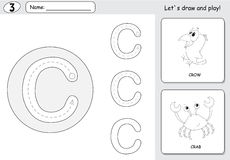 Cartoon crow and crab. Alphabet tracing worksheet: writing A-Z a Stock Image