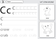 Cartoon crow and crab. Alphabet tracing worksheet: writing A-Z a Royalty Free Stock Photo