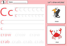 Cartoon crow and crab. Alphabet tracing worksheet: writing A-Z  Stock Photos