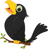 Cartoon crow sitting on tree branch. Vector illustration of cartoon crow sitting on tree branch isolated on white Stock Photography