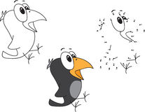 Cartoon crow. Vector illustration. Coloring and dot to dot game Royalty Free Stock Photo