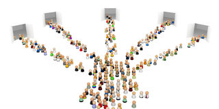 Cartoon Crowd, 5 Gates Stock Photo
