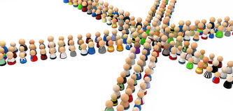 Cartoon Crowd, 6 Way Crossing. Crowd of small symbolic 3d figures, isolated Stock Photo