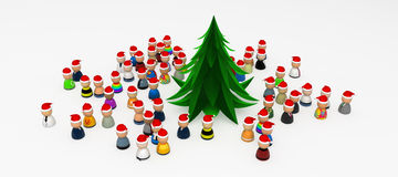 Cartoon Crowd, Around Christmas Tree. Crowd of small symbolic 3d figures, isolated Royalty Free Stock Photography