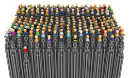 Cartoon Crowd, Arrow Pillars Royalty Free Stock Photography