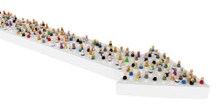 Cartoon Crowd, Arrow Ride. Crowd of small symbolic 3d figures, isolated Royalty Free Stock Images