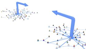 Cartoon Crowd, Arrow System Opposite. Crowd of small symbolic 3d figures linked by lines, opposing arrow networks, over white, isolated, horizontal Stock Photo