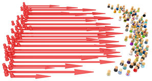 Cartoon Crowd, Attack Arrows Stock Images