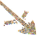 Cartoon Crowd, Barrier Breakthrough. Crowd of small symbolic 3d figures, isolated Stock Photography