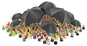 Cartoon Crowd, Black Umbrellas Stock Photography