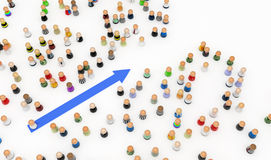 Cartoon Crowd, Blue Arrow Stock Photos
