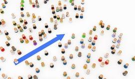 Cartoon Crowd, Blue Arrow vector illustration