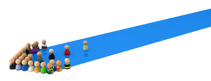Cartoon Crowd, Blue Streak Arrow. Crowd of small symbolic 3d figures, over white Royalty Free Stock Image