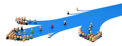 Cartoon Crowd, Blue Streak Branch. Crowd of small symbolic 3d figures, over white Stock Photography