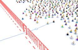 Cartoon Crowd, Border Crossing Link Stock Images