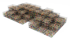 Cartoon Crowd, Boxes. Crowd of small symbolic 3d figures, over white Stock Image