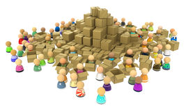 Cartoon Crowd, Boxes Royalty Free Stock Photo