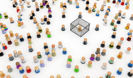 Cartoon Crowd, Cage. Crowd of small symbolic 3d figures, isolated Royalty Free Stock Photos