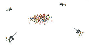 Cartoon Crowd, Cannons Stock Image
