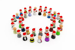 Cartoon Crowd, Christmas Mood Circle. Crowd of small symbolic 3d figures, isolated Royalty Free Stock Photography