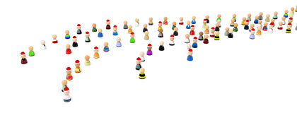 Cartoon Crowd, Christmas Mood Queues. Crowd of small symbolic 3d figures, isolated Royalty Free Stock Photo