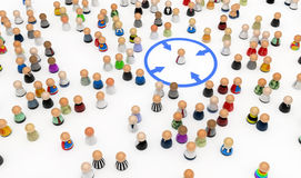 Cartoon Crowd, Circled Out. Crowd of small symbolic 3d figures, isolated royalty free illustration