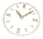 Cartoon Crowd, Clock. Crowd of small symbolic 3d figures, over white, isolated Royalty Free Stock Image