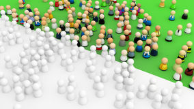 Cartoon Crowd, Color Royalty Free Stock Photo