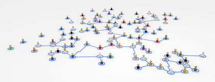 Cartoon Crowd, Complex System. Crowd of small symbolic 3d figures linked by lines, isolated Royalty Free Stock Images