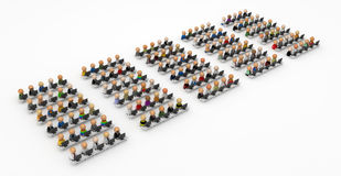 Cartoon Crowd, Computer Room. Crowd of small symbolic 3d computer user figures, isolated Stock Image