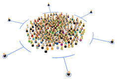 Cartoon Crowd, Contained Royalty Free Stock Images