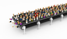 Cartoon Crowd, Conveyor Stock Image