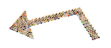 Cartoon Crowd, Corner Arrow Stock Image