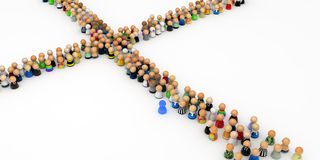 Cartoon Crowd, Crossroads. Crowd of small symbolic 3d figures, isolated Royalty Free Stock Images