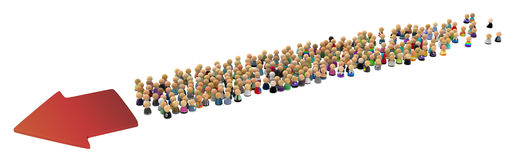 Cartoon Crowd, Directional Stock Photo
