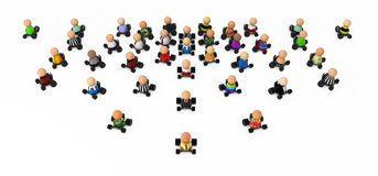 Cartoon Crowd, Drive. Crowd of small symbolic 3d figures, isolated Stock Photography