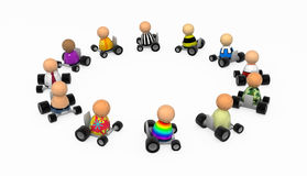 Cartoon Crowd, Drive Circle. Crowd of small symbolic 3d figures, isolated Stock Image