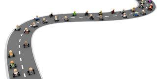 Cartoon Crowd, Drive Road Stock Photo