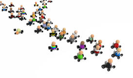 Cartoon Crowd, Driving. Crowd of small symbolic 3d figures, over white Stock Photos