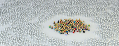 Cartoon Crowd, Encircled White. Large crowd of small symbolic 3d figures, over white Stock Photos