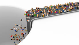 Cartoon Crowd, End of the Road. Crowd of small symbolic 3d figures, isolated vector illustration