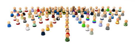 Cartoon Crowd, Fan Out. Crowd of small symbolic 3d figures, isolated Royalty Free Stock Photo