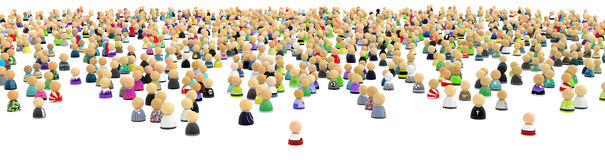 Cartoon Crowd, Far and Wide Royalty Free Stock Images