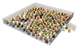 Cartoon Crowd, Fence Square. Large crowd of small symbolic 3d figures, behind iron fence, over white Royalty Free Stock Image